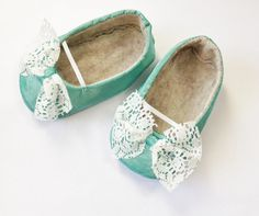 Chic Mint Green Lace Baby Girl Shoes by RedThreadComp on Etsy, $28.95