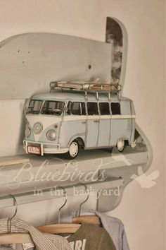 Bluebirds in the backyard: Matthew's Room - Part Three - Replica of a vintage Volkswagen VW Bus T2 in babyblue