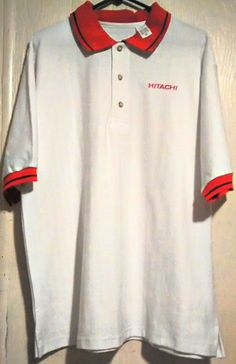 Hitachi Men's White Herringbone XL Short Sleeve 100%Cotton USA Work Casual Shirt #Casual #PoloRugby