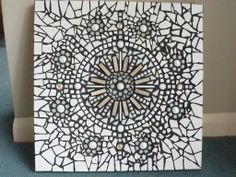 White tiles, glass beads with Black Grout Black and White Mosaic