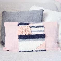 Housse de coussin avec tissage en laine