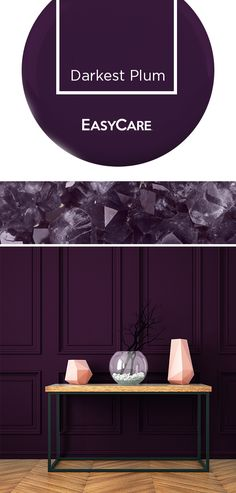 Make a powerful statement with Darkest Plum. This jewel-tone purple combines sleek and elegant for a rich color experience. From paint to upholstery, this color gives dramatic appeal to your living, dining and bedroom areas. Dark Purple Bathroom, Purple Bedroom Paint, Purple Wall Paint, Dark Purple Walls, Purple Master Bedroom, Plum Walls, Purple Accent Walls, Purple Paint Colors, Bedroom Colors
