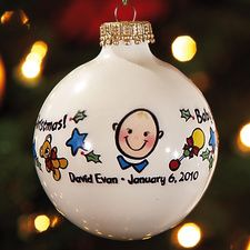 """Baby Boy's 1st Christmas Ornament. Create a memorable ornament of your baby's 1st Christmas! Displays """"Baby's First Chirstmas!"""" on one side of the ornament and the personalization you choose on the reverse side, with blue stars and baby toys pictured in between. Makes an incredibly thoughtful gift for grandparents and other family members. Top-quality gold-capped coated-porcelain ornament. 3 1/4"""" diameter. Specify 1 line, up to 28 characters and spaces. Price: $11.99"""