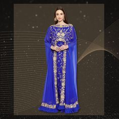 Look your stylish best in this royal blue Arabian Caftan Dress with machine embroidery and frill detailing along the hemline. This dress is available in sizes XS to 5XL and is made to order. Product no: 8871