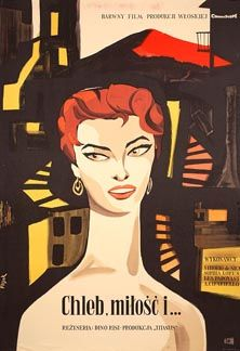 FLISAK: Chleb, milosc i. - vintage Polish movie poster, showing Sophia Loren