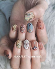 These fabulous nail art designs are super unique and so boho, these will give you the trendy looks and give your nails a whole new edge to them. These designs below and next page include different shades like glitter pink, clear nails with etc. Fall Nail Art Designs, Cute Nail Designs, Acrylic Nail Designs, Acrylic Nails, Cute Nails, Pretty Nails, Hair And Nails, My Nails, Western Nails
