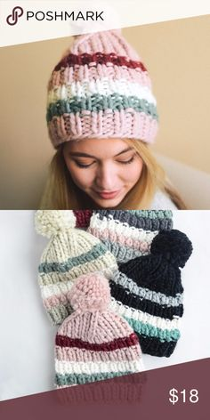 ***NEW***Brooklyn Striped Pom Beanie --Pink 100% Acrylic. Super cute striped pom beanie! Get you one today!! Price Firm! Accessories Hats