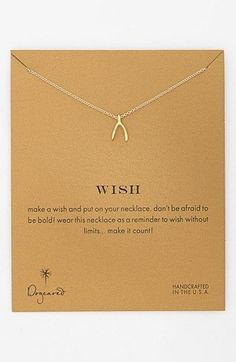 Dogeared 'Reminder - Wish' Boxed Wishbone Pendant Necklace available at #Nordstrom