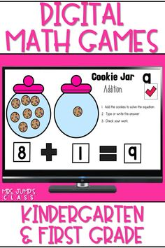 These digital math games are a fun and engaging way for students to practice K/1 math skills. These activities are available in PowerPoint and Google Slides. Use in the classroom or for distance learning! First Grade Teachers, First Grade Classroom, Primary Classroom, Science Videos For Kids, Math For Kids, Kindergarten Math Games, Literacy, Learning Resources, Teacher Resources