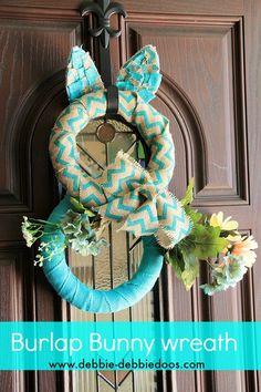 How to make a burlap bunny wreath