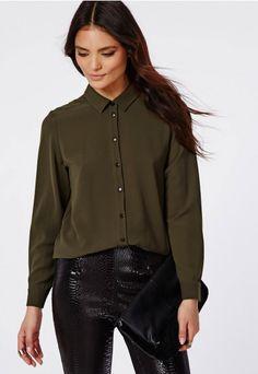Curved Hem Oversized Shirt Khaki - Tops - Shirts & Blouses - Missguided