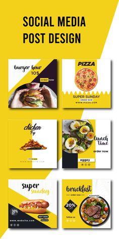 Food Graphic Design, Food Menu Design, Food Poster Design, Social Media Poster, Social Media Design, Feed Insta, Food Promotion, Food Template, Food Banner