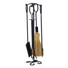 4 Piece Black Wrought Iron Fireplace Tool Set With Ring Handles
