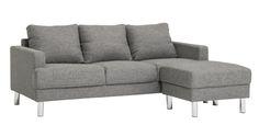 Näppäränkokoinen sohva/rahi -yhdistelmä edulliseen yhteishintaan. Sisältää tyylikkään metallijalan.