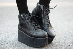 Black Platform Sneakers...I do not care if these are high fashion...they are ugly and will never be worn by me!!!!
