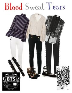 BTS BLOOD SWEAT TEARS by butterfly-flutter on Polyvore featuring polyvore fashion style Givenchy Le Sarte Pettegole Hellessy Tommy Hilfiger Balmain Puma Aquazzura clothing calm bloodsweattears