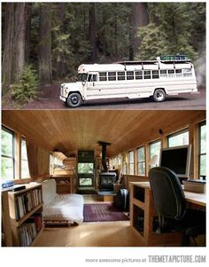Converted school bus to RV.  More room than you would think.  I can see why people lived in them.