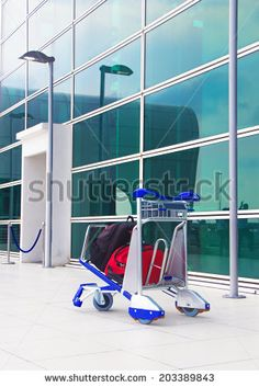 lonely trolley at the airport