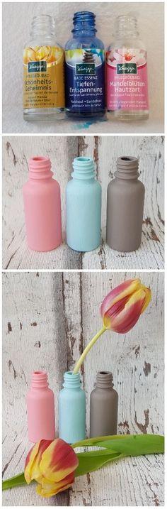 upcycling vasen basteln aus kneipp flaschen vasen mit kreidefarbe kreidefarbe zum. Black Bedroom Furniture Sets. Home Design Ideas