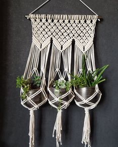 Triple macrame plant hanger and pot's | Etsy Macrame Plant Holder, Macrame Plant Hangers, Plant Holders, Flower Pots, Flowers, Plastic Pots, Cotton Rope, Metallic Paint, Hand Knitting