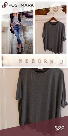 REBORN J Tunic TOP Gray ASYMMETRICAL BOHO CHIC So Chic!! In gentle pre-owned condition reborn j Tops Tunics