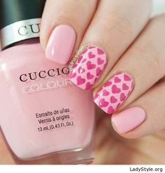 Nude and pink manicure with hearts - LadyStyle