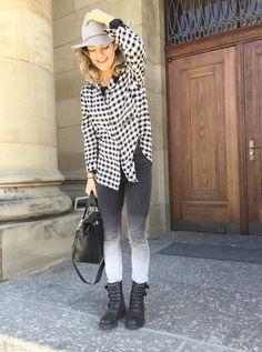 Live life laugh.  Spring outfit - cute street style with hat
