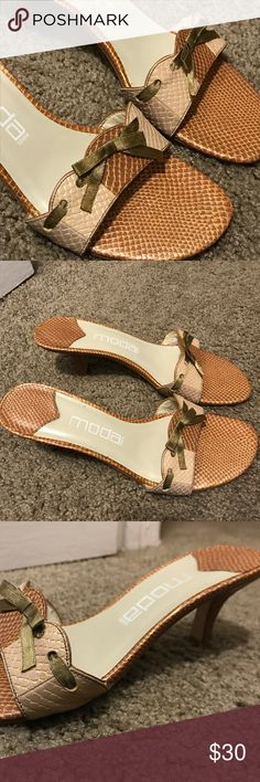 Snakeskin open toe heels/sandals Two-toned faux snakeskin heels with cute olive bow Lightly worn Moda Spana Shoes Sandals
