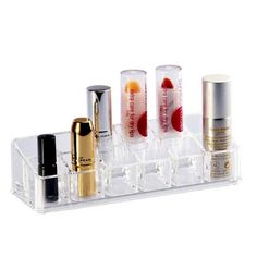 12 Lipstick Holder Display Stand Clear Acrylic Box Makeup Case Sundry  Storage Cosmetic Container Organizer #