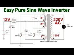 How to make a Pure Sine Wave Inverter to DC to AC - Circuit diagram - Electronics Projects For Beginners, Electronics Mini Projects, Simple Electronics, Electronics Basics, Electrical Projects, Electronic Circuit Design, Electronic Engineering, Simple Circuit, Ac Circuit