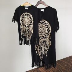 Family look mother daughter tassel dresses mommy and me clothes black family dresses wild fringed for girls women summer style