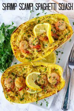 Shrimp Scampi Spaghetti Squash Shrimp Scampi Spaghetti Squash This low carb Shrimp Scampi Spaghetti Squash Recipe is the perfect healthier alternative to the shrimp scampi pasta dish and easy to make! Spaghetti Squash Shrimp Scampi, Low Carb Spaghetti Squash Recipe, Baked Spaghetti Squash, Vegetarian Spaghetti Squash Recipes, Spaghetti Sqush Recipe, Spaghetti Squah, Shrimp Scampi Pasta, Seafood Recipes, Keto Recipes