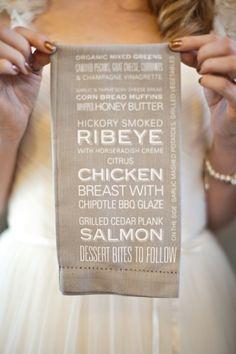 Menu on the napkin! Cute Idea!