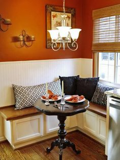 Small Breakfast Nook with L Shaped Banquette Seating.