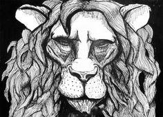 Lion with pen Artwork | Bulleke