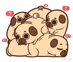 """pugliepug: """"A group of pugs is called a Grumble, so a group of Puglies is called a Grumblie! Pug Kawaii, Kawaii Cute, Kawaii Drawings, Cute Drawings, Cute Puppies, Cute Dogs, Pug Wallpaper, Animals And Pets, Cute Animals"""