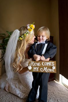 Including your children in the wedding. Ring Bearer Sign, Mother and Son wedding photo, Boho bride.