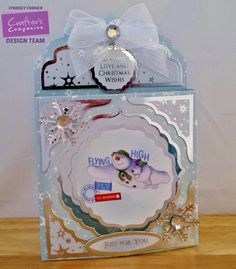 Crafters Companion Snowman/Snowdog Card Kit - Box Card (image hanging by invisible thread in front aperture) Father Christmas, Christmas Wishes, Christmas Crafts, Snowman And The Snowdog, Crafters Companion Cards, Dog Cards, Shaped Cards, Create And Craft, Card Kit