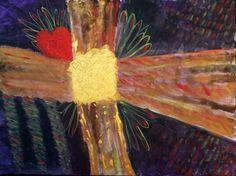 CROSS YOUR HEART Original fine art acrylic abstract by KrugsStudio, $149.99