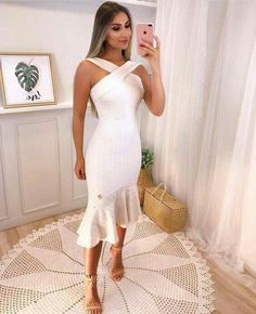 Short Dresses, Formal Dresses, Wedding Dresses, Trumpet Skirt, All White Outfit, Hot Dress, Elegant Dresses, Ideias Fashion, Sexy Women
