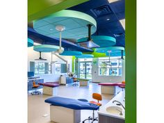 pediatric dental office open bay with soffits