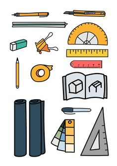 Vector set of stationery doodle style | free image by rawpixel.com