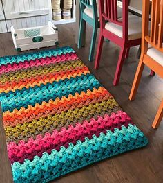 Crochet rug diy home Ideas Chevrons Au Crochet, Crochet Rug Patterns, Crochet Stitches, Knitting Patterns, Loom Knitting, Crochet Diy, Crochet Home Decor, Crochet Crafts, Crochet Projects