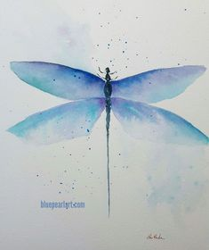 Dragonfly watercolor by Lisa Burke. Feeling the blues! Dragonfly Painting, Dragonfly Art, Watercolor Painting Techniques, Watercolor Paintings, Watercolours, Butterfly Watercolor, Easy Watercolor, Dragon Fly Craft, Insect Art