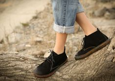 Handmade Black Flat Shoes for Women Soft Leather shoes