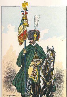 French; Imperial Guard, Chasseurs a Cheval,  Lieutenant, Porte - Etendart , en manteau de campagne 1813.