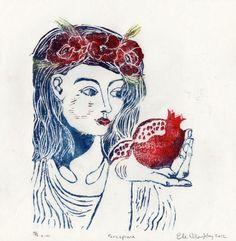 Perséfone y el Linograbado Granada - ilustración estampado a mano de la belleza del mito griego con amapolas y Granada