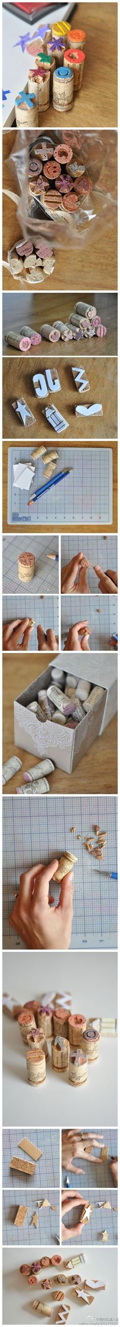 Awesome DIY Ideas and Tutorials Using Wine Corks 2019 Wine Cork Stamps. Kids Crafts, Craft Projects, Arts And Crafts, Paper Crafts, Stencil, Cork Art, Handmade Stamps, Wine Cork Crafts, Tampons