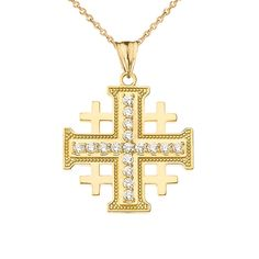 23mm x 13mm Million Charms 14k Yellow Gold Religious Cross with Black Enamel Charm Pendant