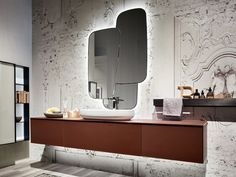 Wall-mounted vanity unit with cabinets ENEA 311 By Edoné by Agorà Stone Bathroom, White Bathroom, Modern Bathroom, Modern Bedroom Design, Bathroom Interior Design, Dark Bathrooms, Wall Mounted Vanity, Minimalist Bathroom, Vanity Units